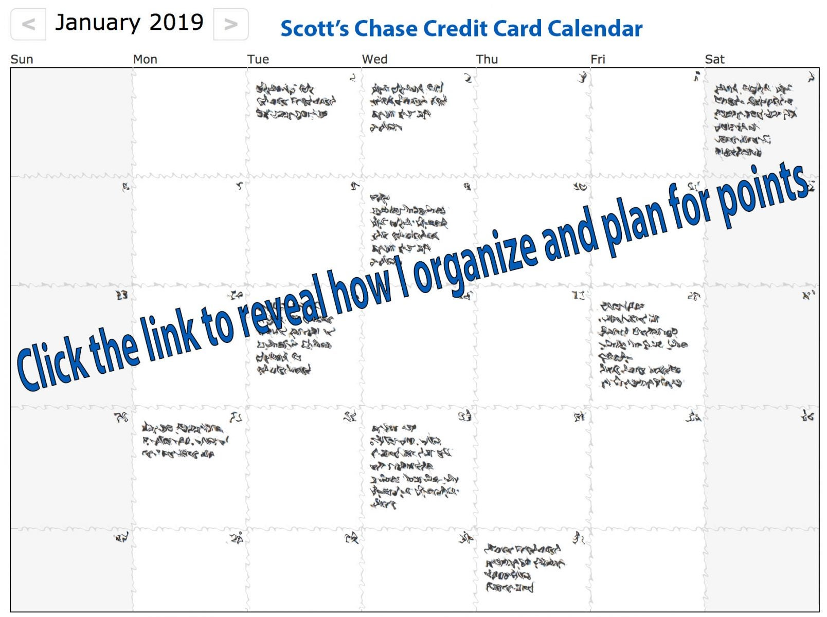 Don't Miss Out on Easy Points: Spy on My Personal Chase Credit Card Calendar for January 2019 – How I Stay Organized While Earning Points