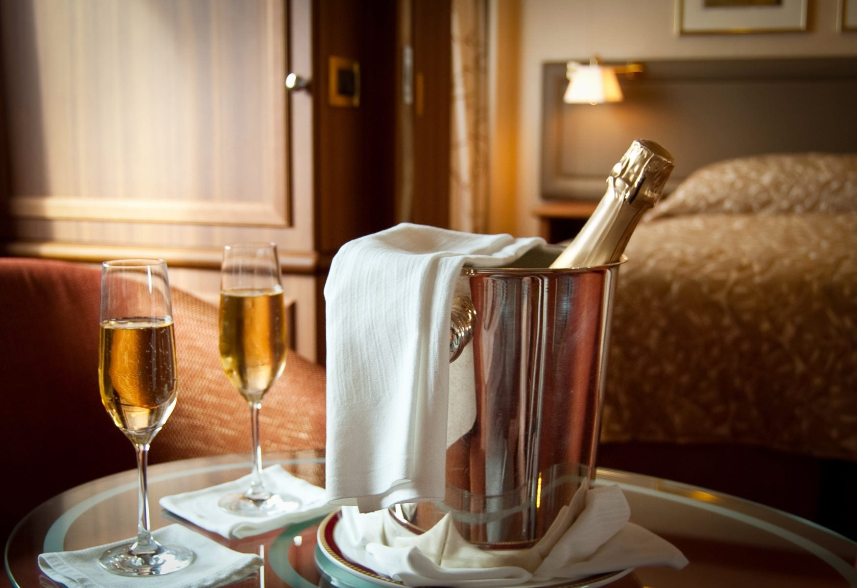 Champagne in luxury hotel room