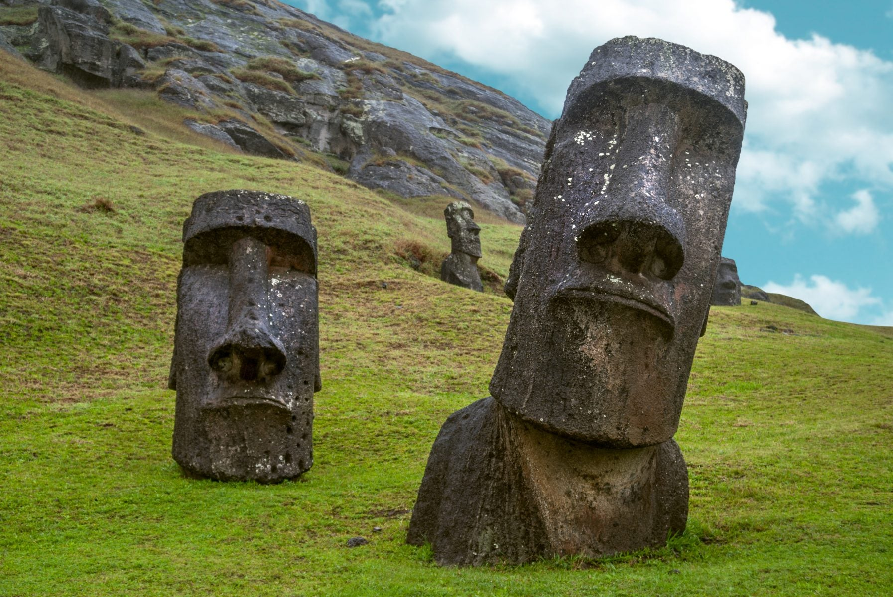 Moai statues standing on Easter Island