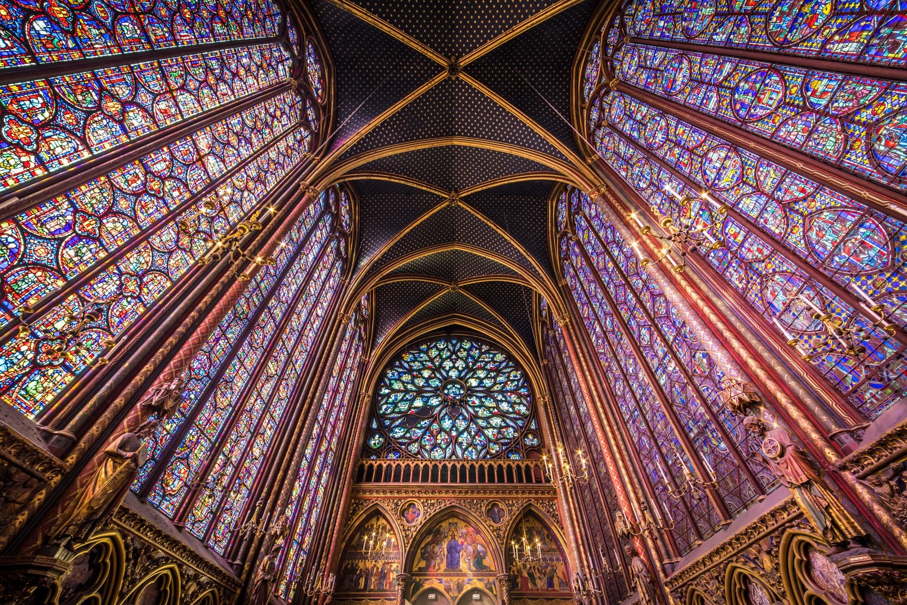 Stained glass ceilings in Sainte-Chappelle
