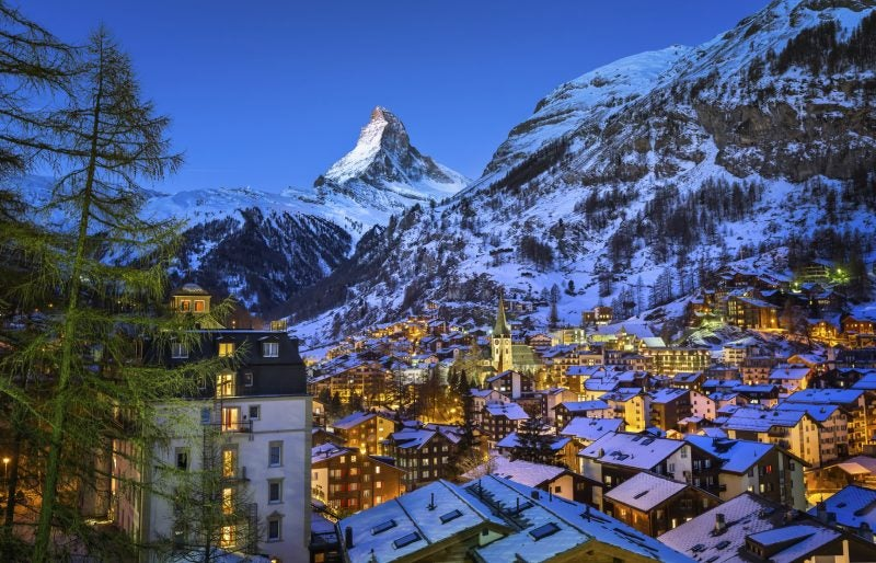 Zermat is Nestled in the Shadow of the Famous Matterhorn. It is a Must-See Destination for Skiers.